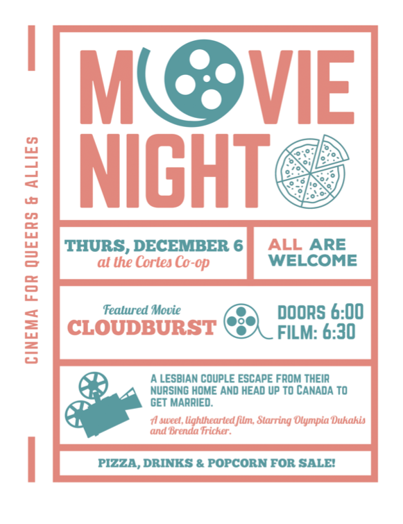 Queer Movie Night: Cloudburst on Dec 6th